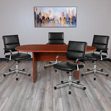 See Details - 5 Piece Cherry Oval Conference Table Set with 4 Black LeatherSoft Panel Back Executive Chairs