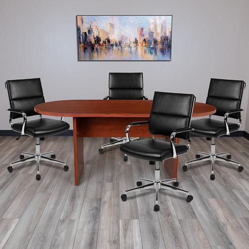 Gallery - 5 Piece Cherry Oval Conference Table Set with 4 Black LeatherSoft Panel Back Executive Chairs