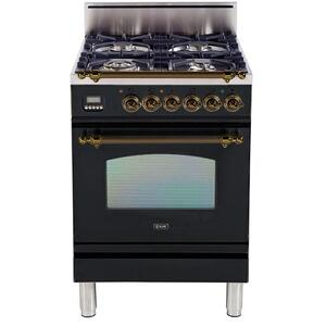 Ilve - Nostalgie 24 Inch Gas Natural Gas Freestanding Range in Glossy Black with Bronze Trim