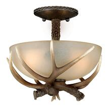 "Yoho 12"" Semi-Flush Mount Black Walnut"