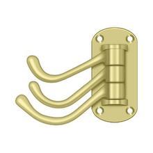 """View Product - Triple Swivel Hook, Heavy Duty, 4"""" Projection - Polished Brass"""