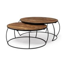"Clapp I Set of 2 (41"" & 38"") Round Brown Wood Top Black Iron Base Nesting Coffee Tables"