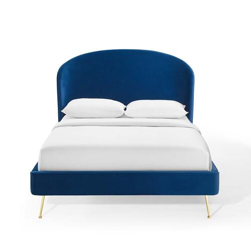 Mira Upholstered Performance Velvet Queen Platform Bed in Navy