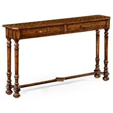 Heavily distressed parquet console with strap handles