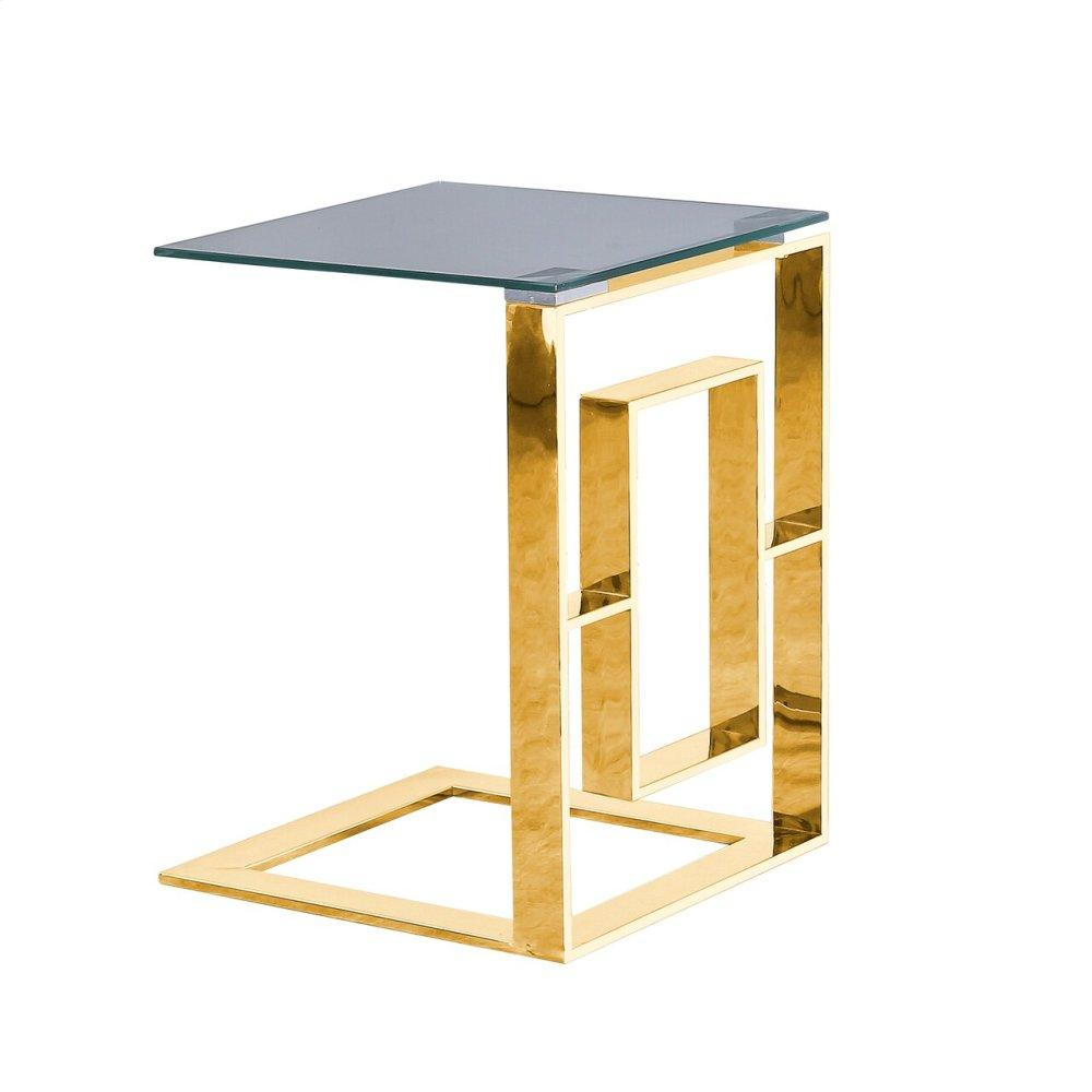 "Metal Box Frame 22"" Side Table, Gold -kd"