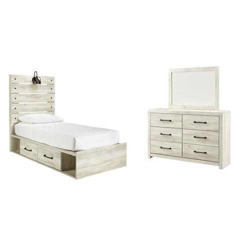 Ashley - Twin Panel Bed With 2 Storage Drawers With Mirrored Dresser
