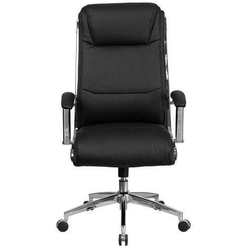 Gallery - High Back Designer Black LeatherSoft Smooth Upholstered Executive Swivel Office Chair with Chrome Base and Arms