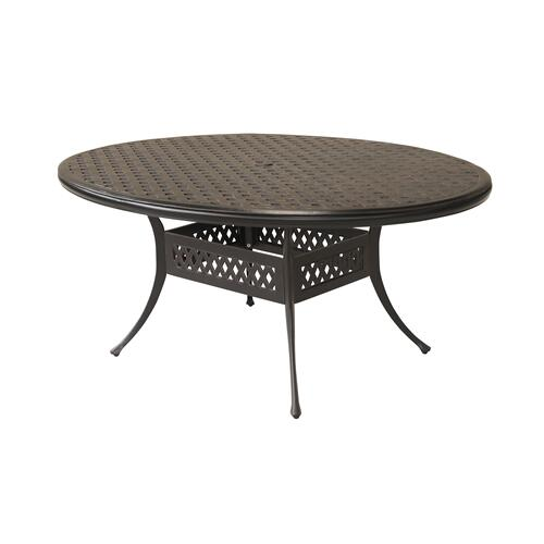"Bonita Weave 50"" x70"" Sand Cast Egg Dining Table w/ Umbrella Hole"
