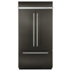 "KitchenAidBLACK STAINLESS24.2 Cu. Ft. 42"" Width Built-In Stainless French Door Refrigerator with Platinum Interior Design - Black Stainless Steel with PrintShield™ Finish"
