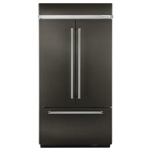 "KitchenAid20.8 Cu. Ft. 36"" Width Built In Stainless Steel French Door Refrigerator with Platinum Interior Design - Black Stainless"