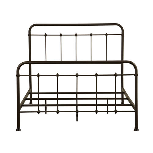 Curved Corner Metal King Bed in Brown