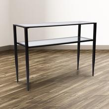 See Details - Newport Collection Glass Console Table with Shelves and Black Metal Frame