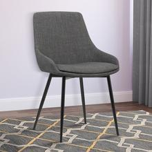 Armen Living Mia Contemporary Dining Chair in Charcoal Fabric with Black Powder Coated Metal Legs