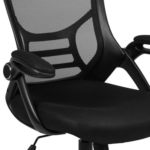 Flash Furniture - High Back Black Mesh Ergonomic Swivel Office Chair with Black Frame and Flip-up Arms