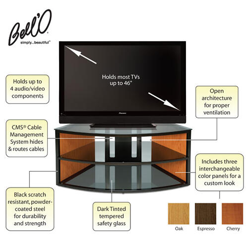 Corner-Fit with Three Color Finishes A/V Furniture fits most TVs up to 46 inches from Bell'O International Corp.