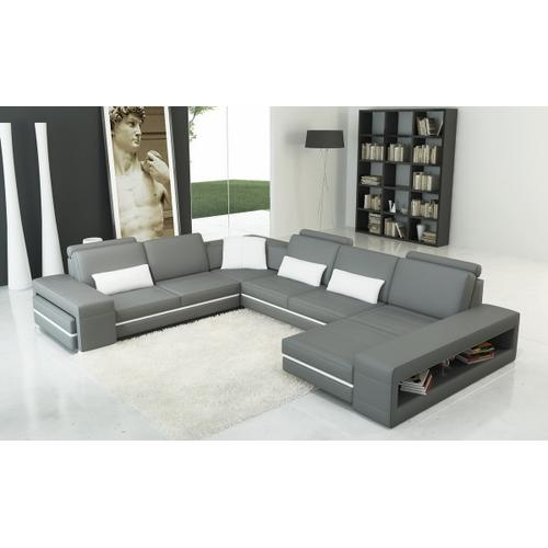 Divani Casa 5070 Modern Grey and White Bonded Leather Sectional Sofa