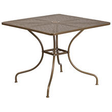 "Commercial Grade 35.5"" Square Gold Indoor-Outdoor Steel Patio Table"