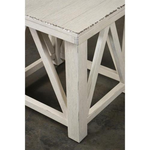 Riverside - Aberdeen - Side Table - Weathered Worn White Finish