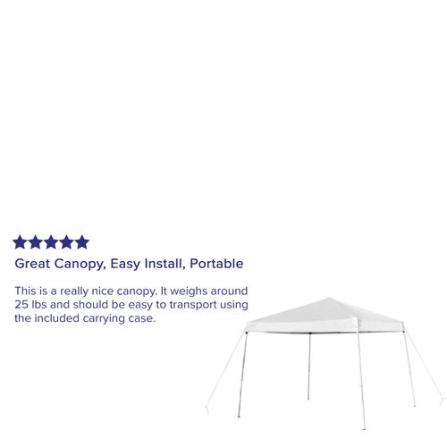 Flash Furniture - 10'x10' White Outdoor Pop Up Event Slanted Leg Canopy Tent with Carry Bag