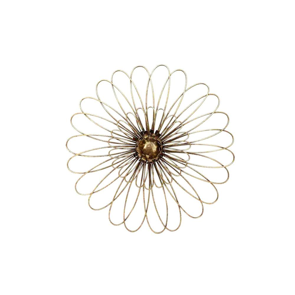 """See Details - Gold Metal Daisy Wall Flower Wb 16"""""""