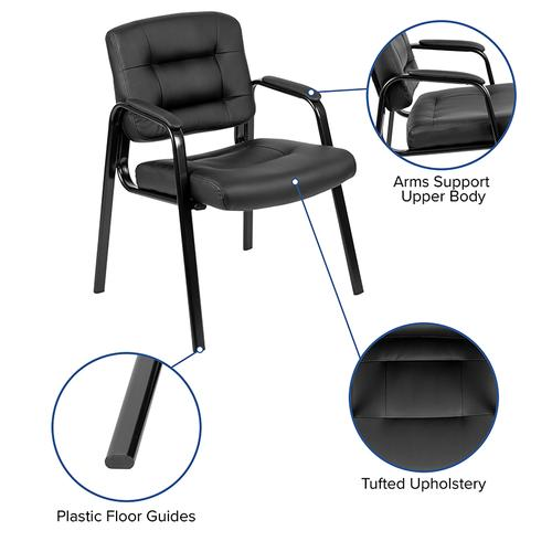 Gallery - Flash Fundamentals Black LeatherSoft Executive Reception Chair with Black Metal Frame, BIFMA Certified