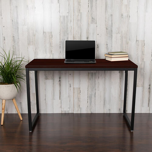 "Gallery - Tiverton Industrial Modern Desk - Commercial Grade Office Computer Desk and Home Office Desk - 47"" Long (Mahogany\/Black)"