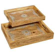 See Details - Silver Floral Medallion Inlay Rectangle Tray (2 pc. set)