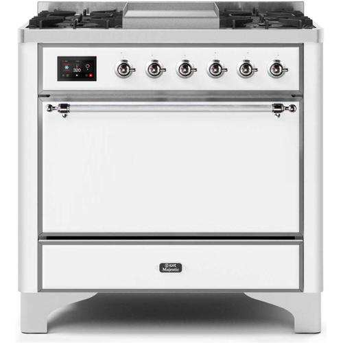 Ilve - Majestic II 36 Inch Dual Fuel Natural Gas Freestanding Range in White with Chrome Trim