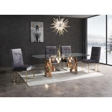 Modrest Javier Modern Glass & Rosegold Dining Table