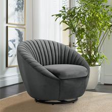 See Details - Bella Gray Velvet Swivel Accent Chair