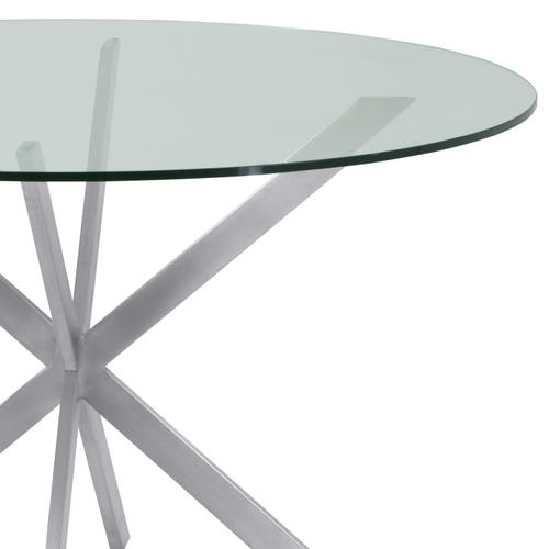 Armen Living - Armen Living Mystere Round Dining Table in Brushed Stainless Steel with Clear Tempered Glass Top