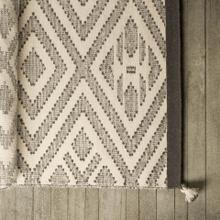 Damien I 96 x 60 Cream Wool and Cotton Handwoven Rug