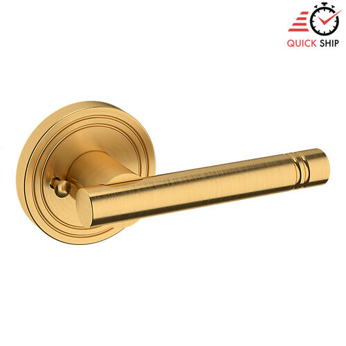 Baldwin - Lifetime Satin Brass 5138 Estate Lever with 5047 Rose