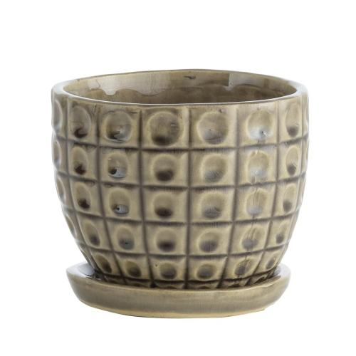Alfresco Home - Taupe Omni Petits Pots w/ attchd saucer, Set of 2