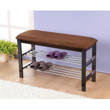 Product Image - Dark Espresso Wood Shoe Bench with Chocolate Microfiber Seat