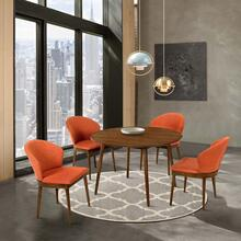 """See Details - Arcadia and Juno 48"""" Round Orange and Walnut Wood 5 Piece Dining Set0"""