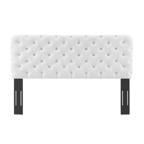 Lizzy Tufted King/California King Performance Velvet Headboard in White