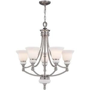 5-lite Ceiling Lamp, Ps/frost Glass Shade, Type A 60wx5