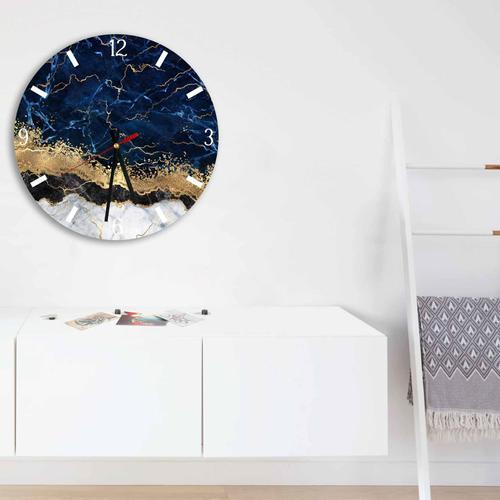 Grako Design - Elegant Blue Gold Abstract Round Square Acrylic Wall Clock