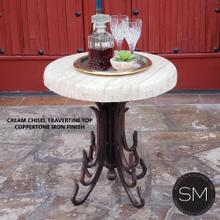 See Details - Western Small Occasional Table  Patio Travertine Chiseled  Wrought Iron -1245BB - Cream Chisel Travertine / Dark Rust Brown