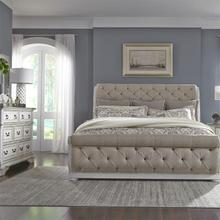 King Uph Sleigh Bed, Dresser & Mirror