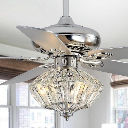 Safavieh - Landi Ceiling Light Fan - Silver / White Maple (reversible Option)
