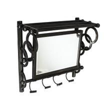 Black Metal Mirror W/ Hooks