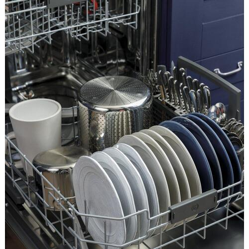 GE® Stainless Steel Interior Fingerprint Resistant Dishwasher with Hidden Controls
