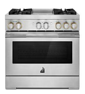 """RISE™ 36"""" Dual-Fuel Professional Range with Chrome-Infused Griddle and Steam Assist"""