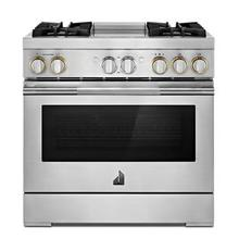 """See Details - RISE™ 36"""" Dual-Fuel Professional Range with Chrome-Infused Griddle"""