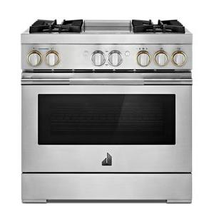 """JennAir - RISE™ 36"""" Dual-Fuel Professional Range with Chrome-Infused Griddle"""