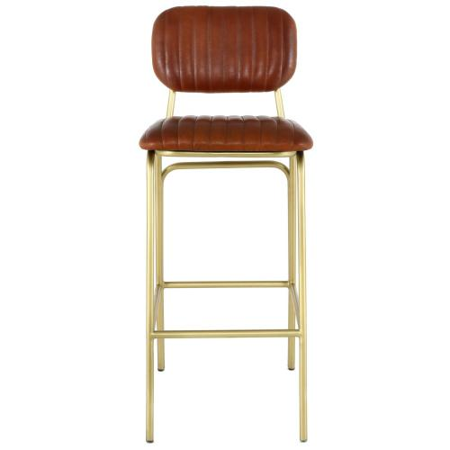 Lewis Leather Bar Stool Gold Legs, Ale Brown