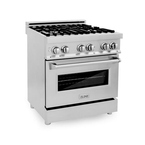 """Zline Kitchen and Bath - ZLINE 30"""" 4.0 cu. ft. Dual Fuel Range with Gas Stove and Electric Oven in Stainless Steel with Color Door Options (RA30) [Color: Red Gloss]"""