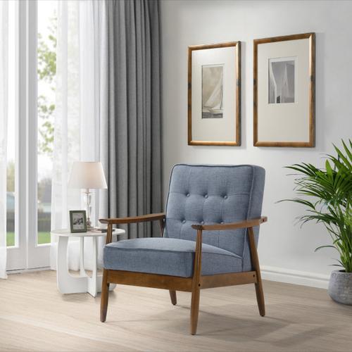 Button Tuft Back Wood Frame Armchair- Cornflower
